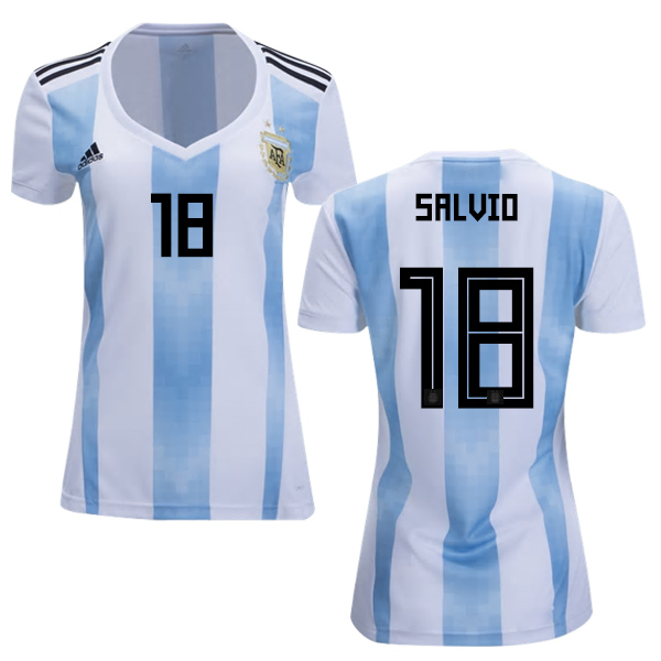 Women's Argentina #18 Salvio Home Soccer Country Jersey
