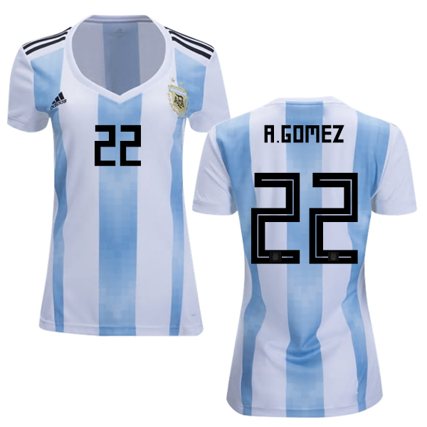 Women's Argentina #22 A.Gomez Home Soccer Country Jersey