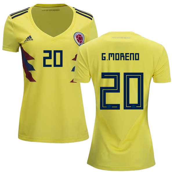 Women's Colombia #20 G.Moreno Home Soccer Country Jersey