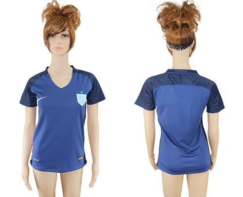 Women's England Blank Away Soccer Country Jersey