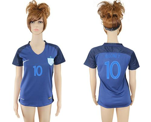 Women's England #10 Rooney Away Soccer Country Jersey