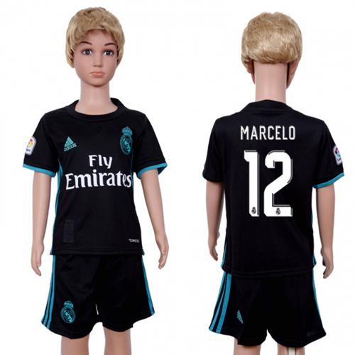 Real Madrid #12 Marcelo Away Kid Soccer Club Jersey