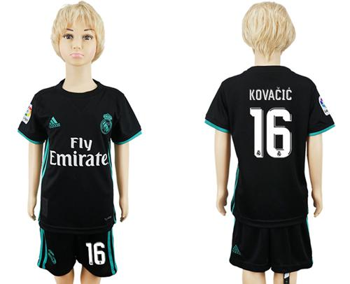 Real Madrid #16 Kovacic Away Kid Soccer Club Jersey