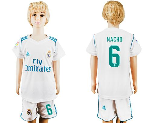 Real Madrid #6 Nacho White Home Kid Soccer Club Jersey