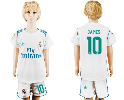 Real Madrid #10 James White Home Kid Soccer Club Jersey