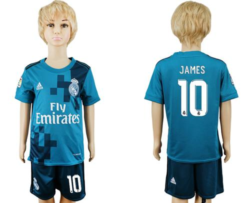 Real Madrid #10 James Sec Away Kid Soccer Club Jersey