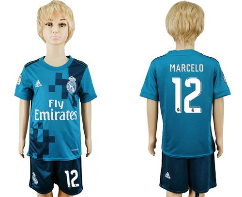 Real Madrid #12 Marcelo Sec Away Kid Soccer Club Jersey