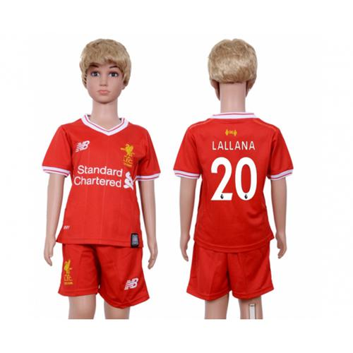 Liverpool #20 Lallana Red Home Kid Soccer Club Jersey