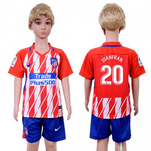 Atletico Madrid #20 Juanfran Home Kid Soccer Club Jersey