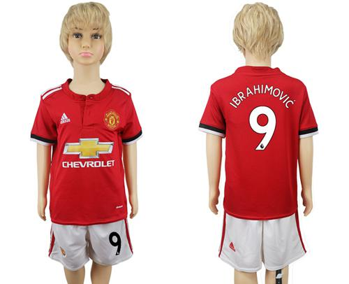 Manchester United #9 Ibrahimovic Home Kid Soccer Club Jersey