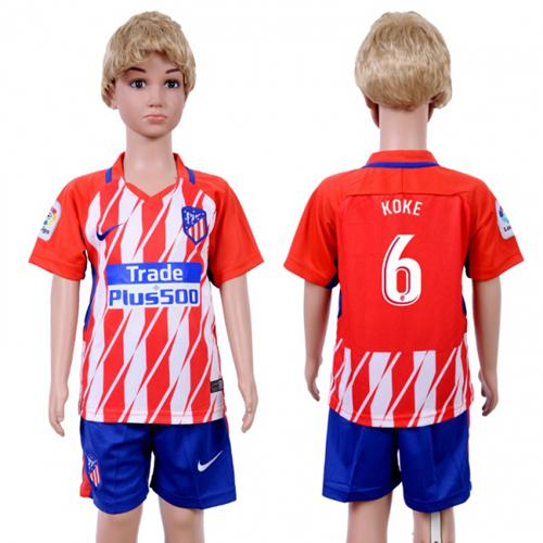Atletico Madrid #6 Koke Home Kid Soccer Club Jersey