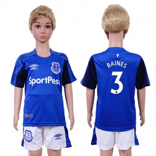 Everton #3 Baines Home Kid Soccer Club Jersey