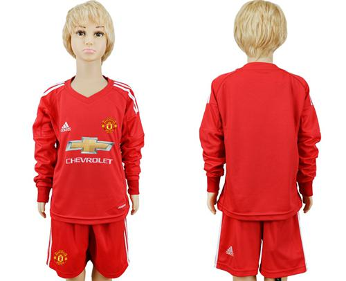 Manchester United Blank Red Goalkeeper Long Sleeves Kid Soccer Club Jersey