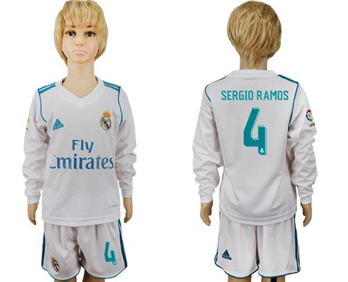 Real Madrid #4 Sergio Ramos Home Long Sleeves Kid Soccer Club Jersey