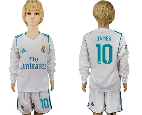 Real Madrid #10 James Home Long Sleeves Kid Soccer Club Jersey