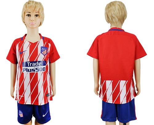 Atletico Madrid Blank Home Kid Soccer Club Jersey