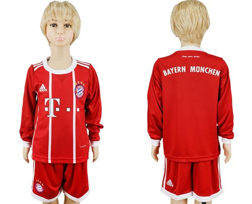 Bayern Munchen Blank Home Long Sleeves Kid Soccer Club Jersey