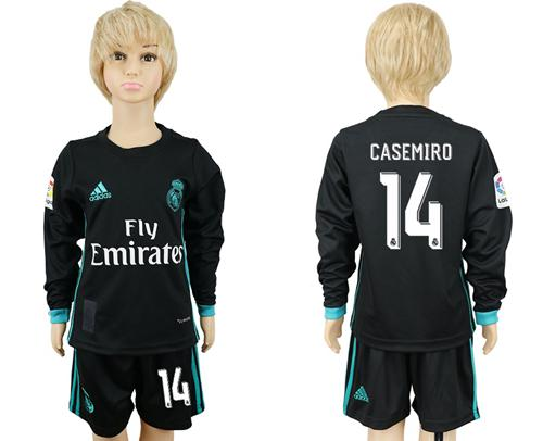 Real Madrid #14 Casemiro Away Long Sleeves Kid Soccer Club Jersey