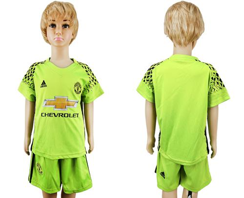 Manchester United Blank Shiny Green Goalkeeper Kid Soccer Club Jersey