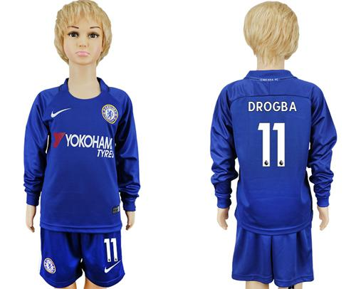 Chelsea #11 Drogba Home Long Sleeves Kid Soccer Club Jersey