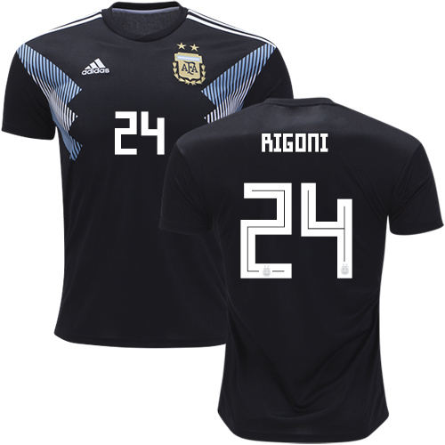 Argentina #24 Rigoni Away Kid Soccer Country Jersey