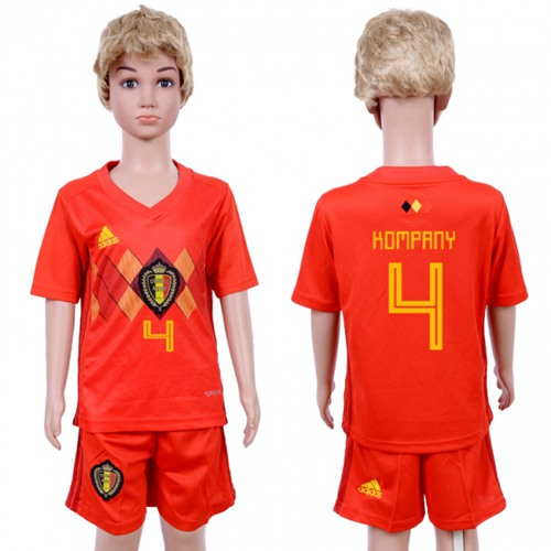Belgium #4 Kompany Red Home Kid Soccer Country Jersey