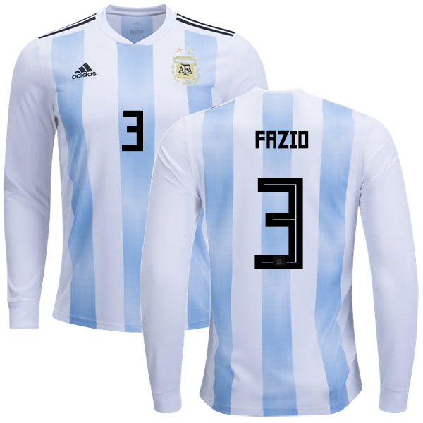 Argentina #3 Fazio Home Long Sleeves Kid Soccer Country Jersey