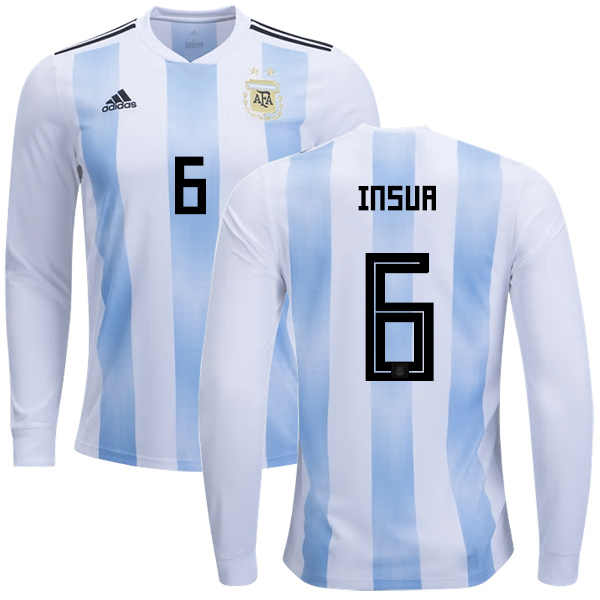 Argentina #6 Insua Home Long Sleeves Kid Soccer Country Jersey