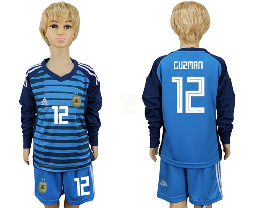 Argentina #12 Guzman Blue Long Sleeves Goalkeeper Kid Soccer Country Jersey