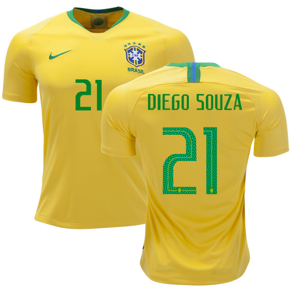 Brazil #21 Diego Souza Home Kid Soccer Country Jersey