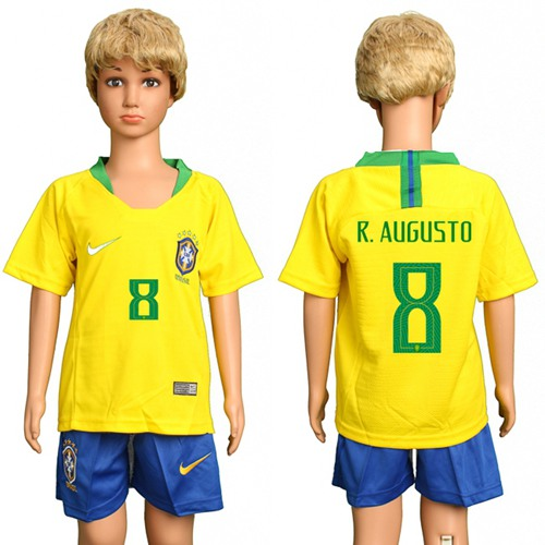 Brazil #8 R.Augusto Home Kid Soccer Country Jersey