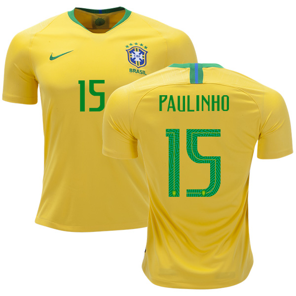 Brazil #15 Paulinho Home Kid Soccer Country Jersey