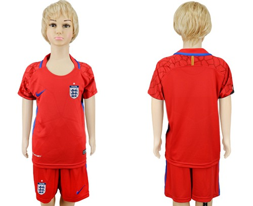 England Blank Red Goalkeeper Kid Soccer Country Jersey