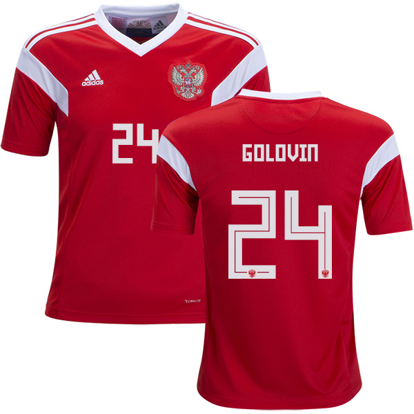 Russia #24 Golovin Home Kid Soccer Country Jersey