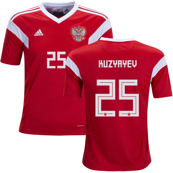 Russia #25 Kuzyayev Home Kid Soccer Country Jersey
