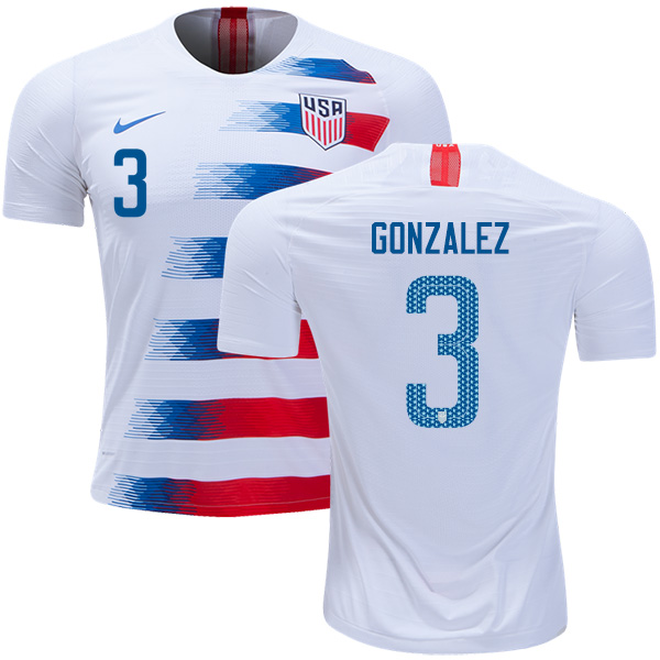 USA #3 Gonzalez Home Kid Soccer Country Jersey