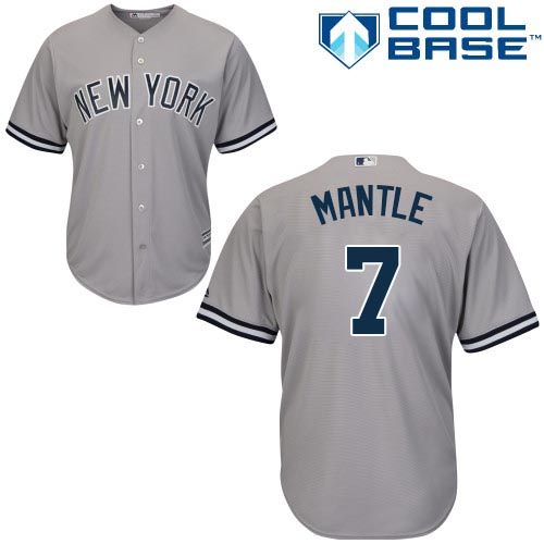 Yankees #7 Mickey Mantle Stitched Grey Youth MLB Jersey