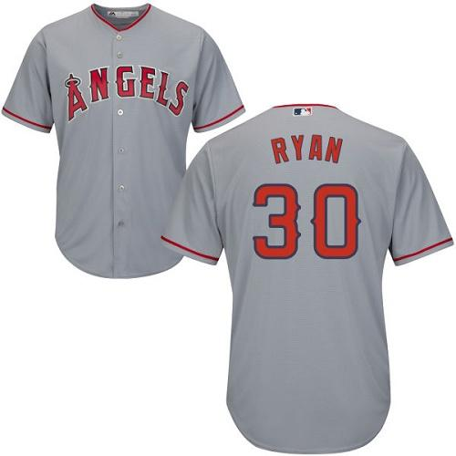Angels #30 Nolan Ryan Grey Cool Base Stitched Youth MLB Jersey
