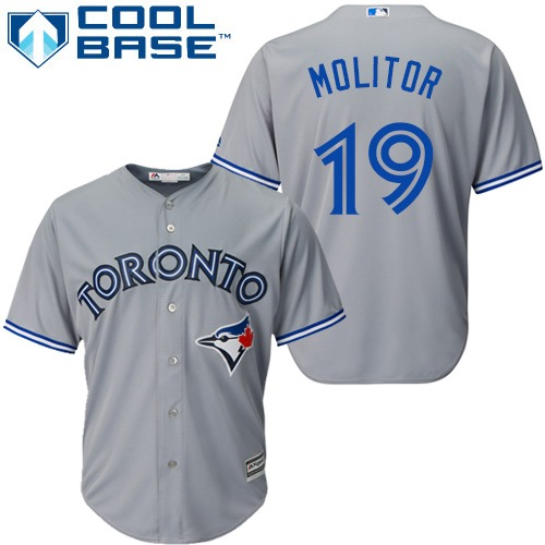 Blue Jays #19 Paul Molitor Grey Cool Base Stitched Youth MLB Jersey
