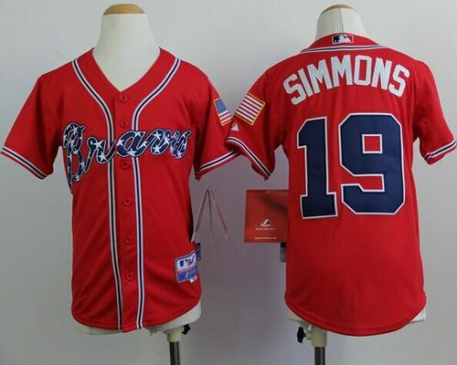Braves #19 Andrelton Simmons Red Cool Base Stitched Youth MLB Jersey