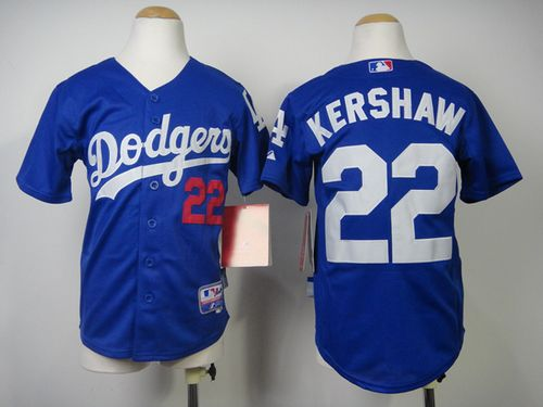 Dodgers #22 Clayton Kershaw Blue Cool Base Stitched Youth MLB Jersey