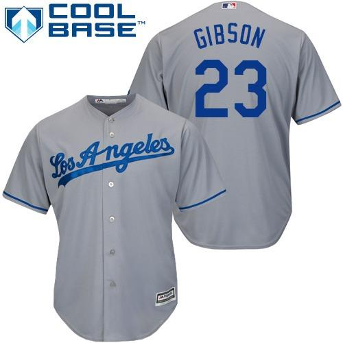 Dodgers #23 Kirk Gibson Grey Cool Base Stitched Youth MLB Jersey