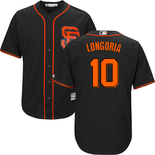 Giants #10 Evan Longoria Black Alternate Cool Base Stitched Youth MLB Jersey