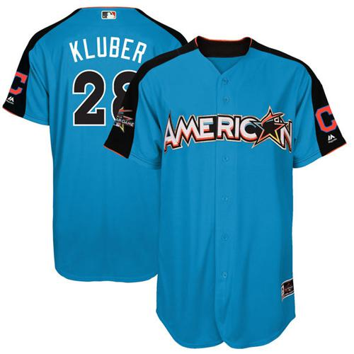 Indians #28 Corey Kluber Blue All-Star American League Stitched Youth MLB Jersey
