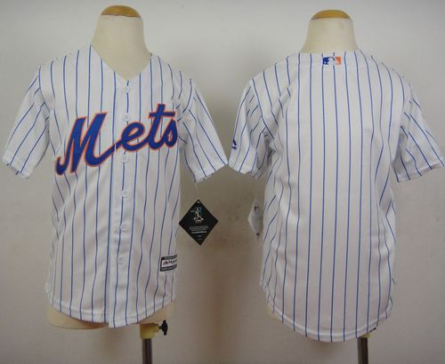 Mets Blank White(Blue Strip) Home Cool Base Stitched Youth MLB Jersey