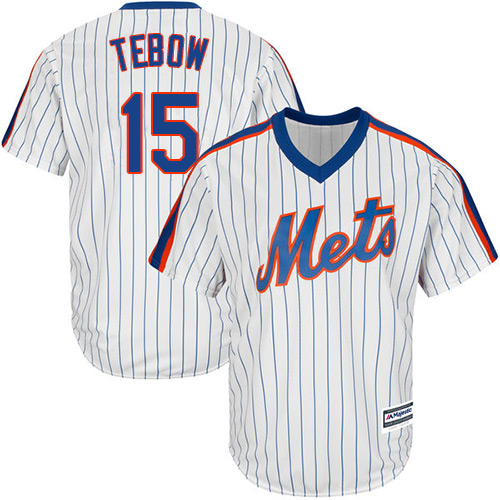 Mets #15 Tim Tebow White(Blue Strip) Alternate Cool Base Stitched Youth MLB Jersey