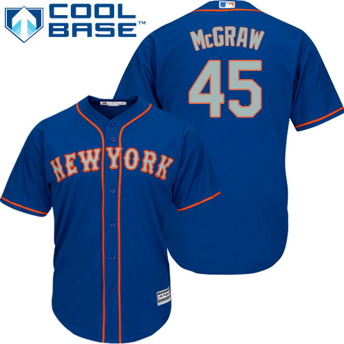 Mets #45 Tug McGraw Blue(Grey NO.) Cool Base Stitched Youth MLB Jersey