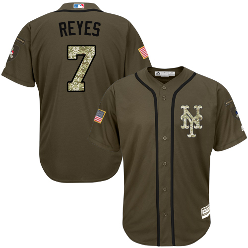 Mets #7 Jose Reyes Green Salute to Service Stitched Youth MLB Jersey