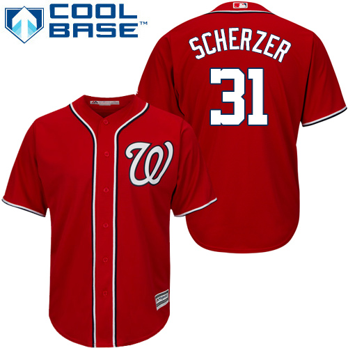 Nationals #31 Max Scherzer Red Cool Base Stitched Youth MLB Jersey