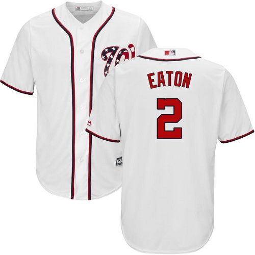 Nationals #2 Adam Eaton White Cool Base Stitched Youth MLB Jersey